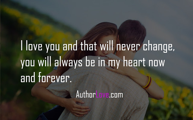 I love you and that will never change, you will always be in my heart now and forever.