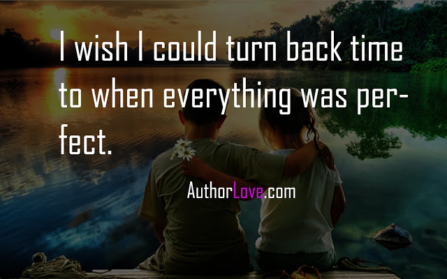 I wish I could turn back time to when everything was perfect.