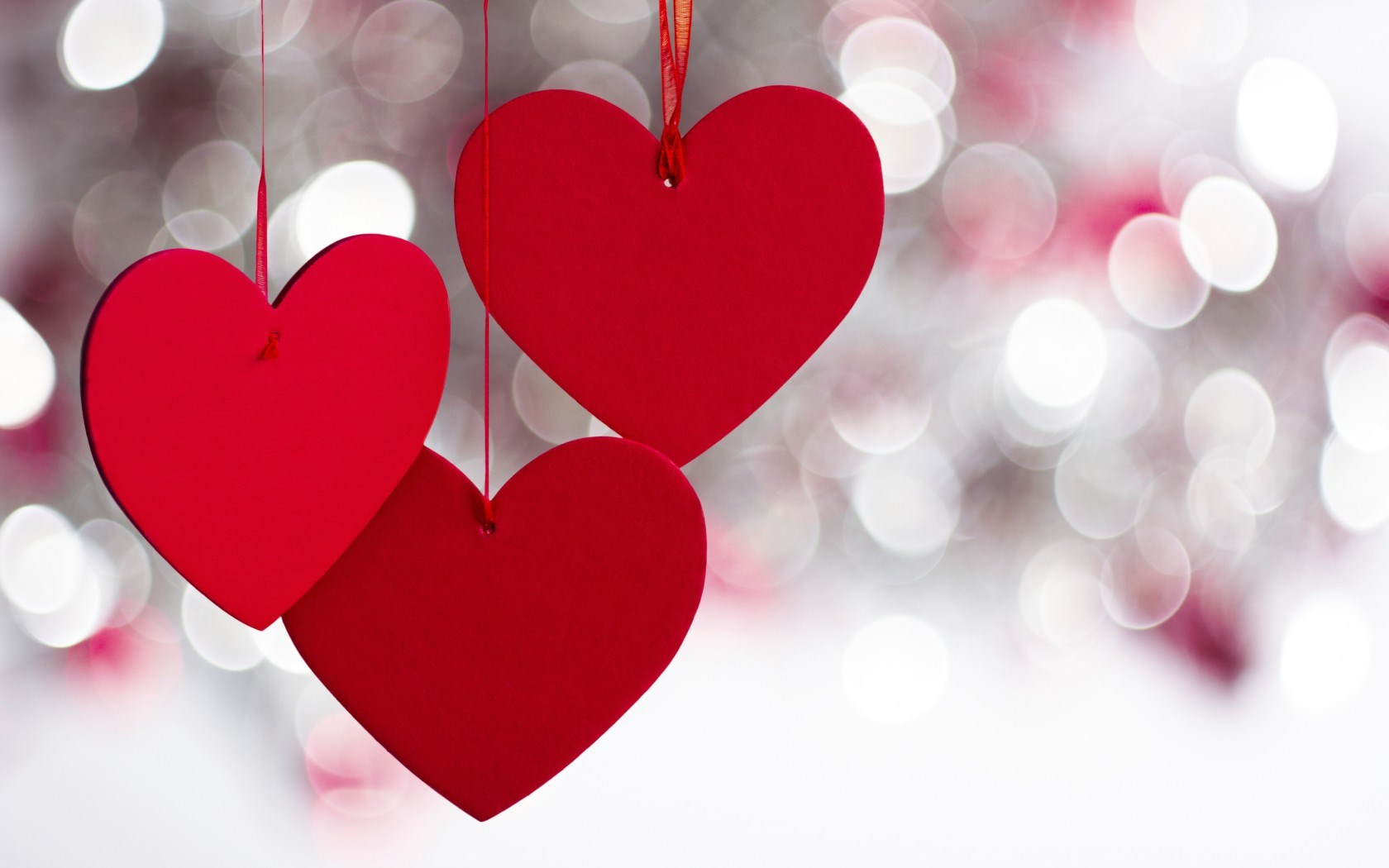 Red Hearts Sparkle Lovely Valentine Day Bokeh Photo