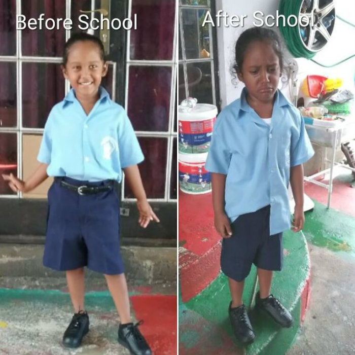 The Before And After Pictures Of Kids From The First Day