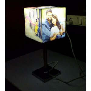 Personalized photo cube lamp with stand