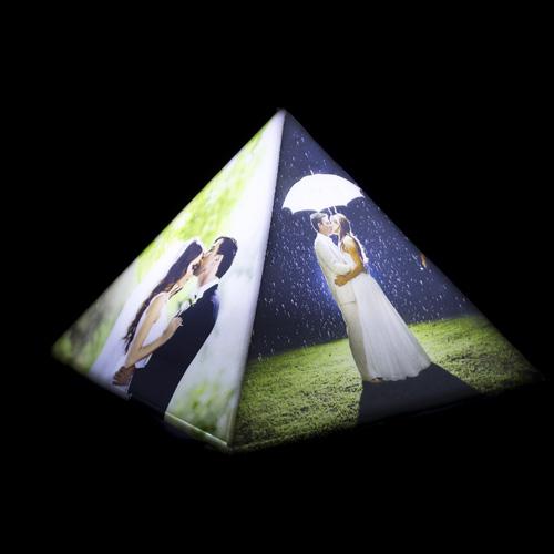 Personalized pyramid photo lamp