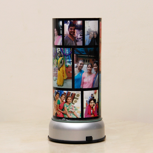 Personalized revolving photo lamp