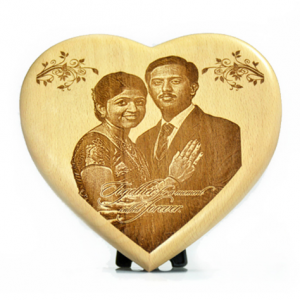 Heart shape engraved wooden plaque