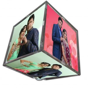 Rotating photo cube with LED light